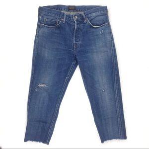 Chimala cropped distress blue denim jeans size 28